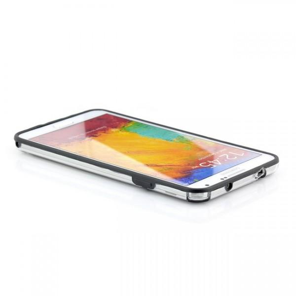 TPU & Silikon Bumper für Samsung Galaxy Note 3 Transparent-Schwarz