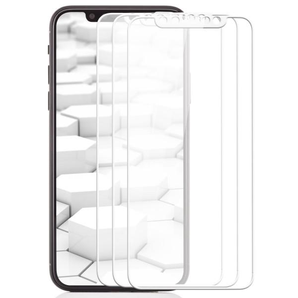 3x Curved Displayschutzglas für Apple iPhone X - Weiß