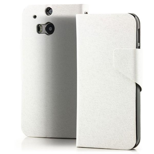 Slim Handytasche mit Magnetverschluss für HTC One M8 Weiß
