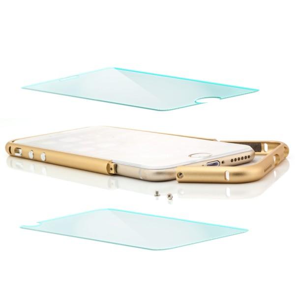 Aluminium Rahmen für Apple iPhone 6 Plus / 6S Plus Gold + 2x GLAS