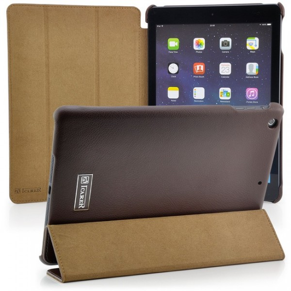 iCareR Leder Case für Apple iPad Air Braun
