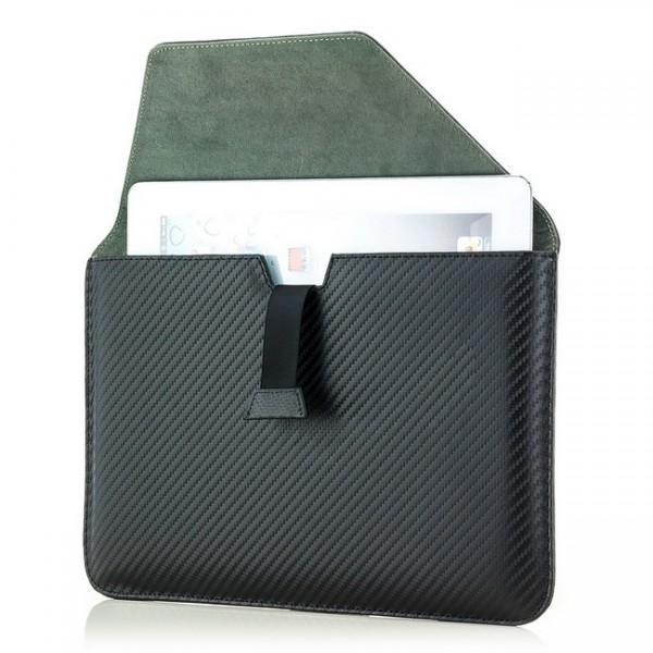 Saxonia Tablettasche - Carbon Style / Querformat / Schwarz