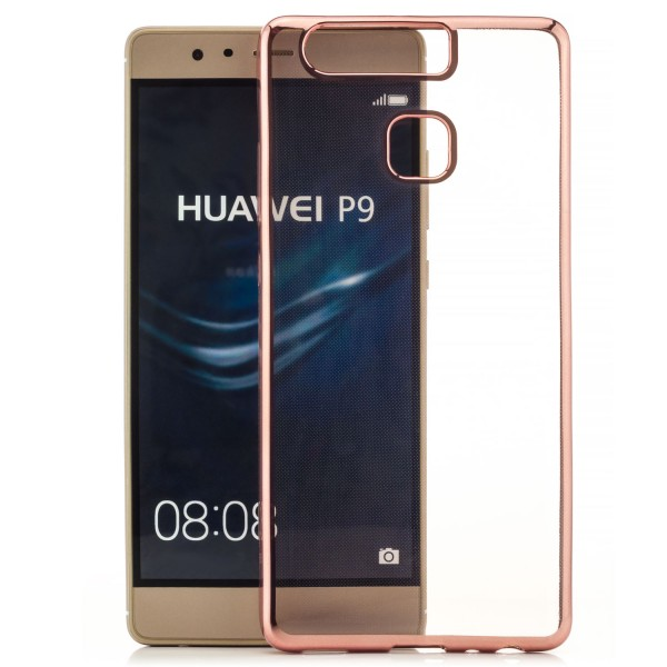 Farbrand Silikon Case für Huawei P9 Lite - Gold mit Blumen