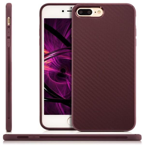 "Silikon Carbon Back Cover für Apple iPhone 8 Plus / 7 Plus (5,5"") - Lila"