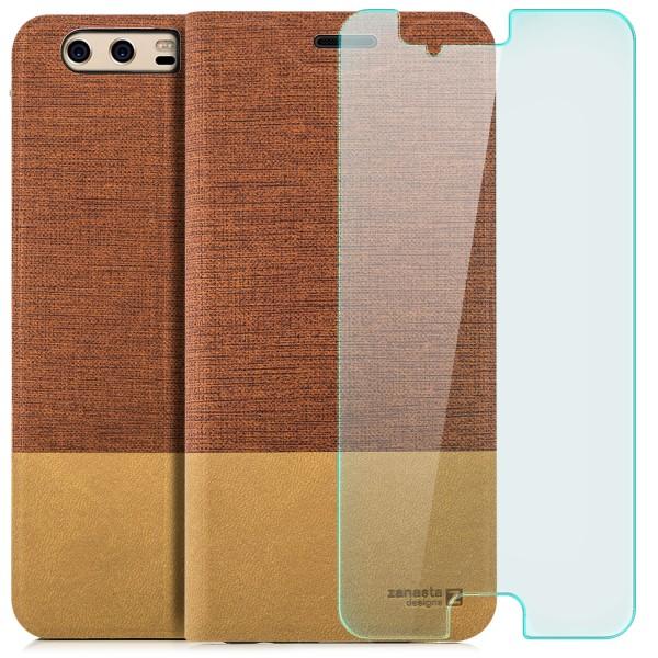Kunstleder Slim Tasche für Huawei P10 Plus - Rotbraun + GLAS