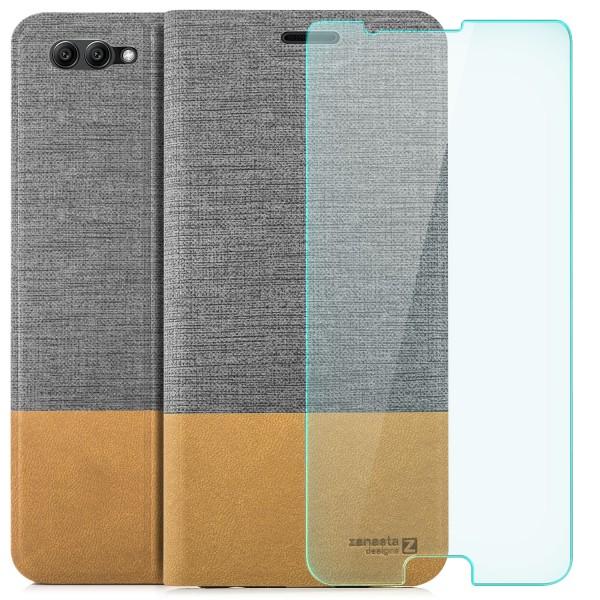 Kunstleder Slim Tasche für Huawei Honor View 10 - Grau + GLAS