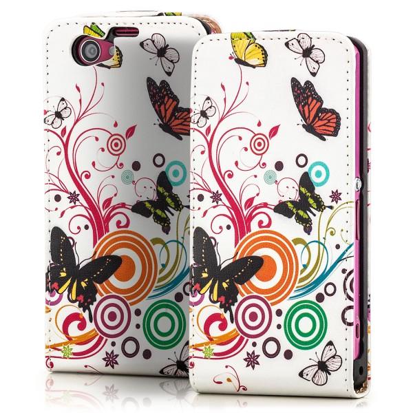 Blumen Flip Case für Sony Xperia Z1 Compact Weiß