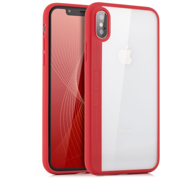 Silikon Back Cover 2 für iPhone X - Transparent-Rot