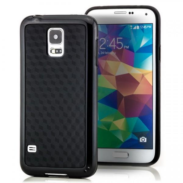 Cubes TPU Back Cover für Samsung Galaxy S5 Schwarz