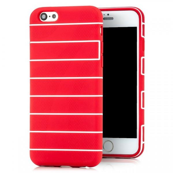 Streifen Silikon Back Cover für Apple iPhone 6 & 6S (4,7) Rot