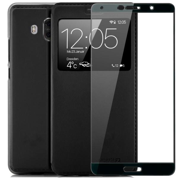 Kunstleder View Case für Huawei Mate 10 - Schwarz + FC Glas S
