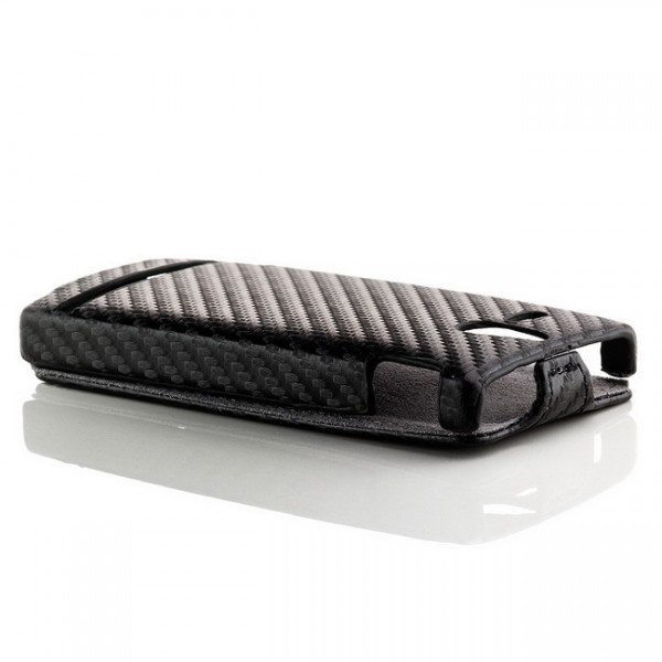 Carbon-Look Flip Case für Sony Xperia U Schwarz