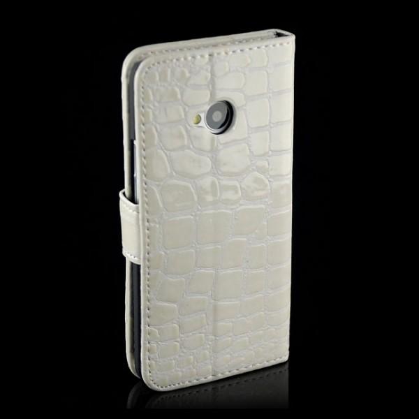 Kroko Handytasche für HTC One M7 Weiß