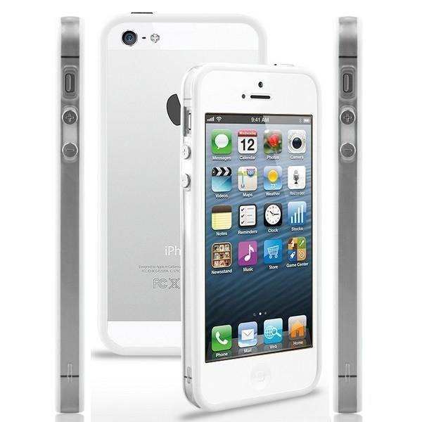 TPU & Silikon Bumper für Apple iPhone 5 & 5S Weiß-Transparent