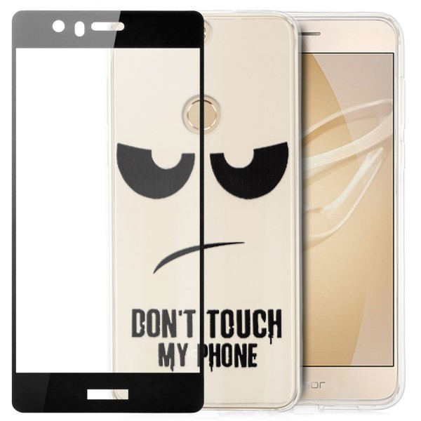 Silikon Motiv Case für Huawei Honor 8 - Dont Touch my Phone 2 + FC Glas S