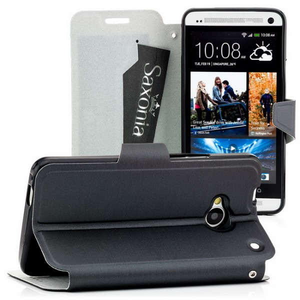 Brushed TPU Tasche für HTC One M7 Schwarz