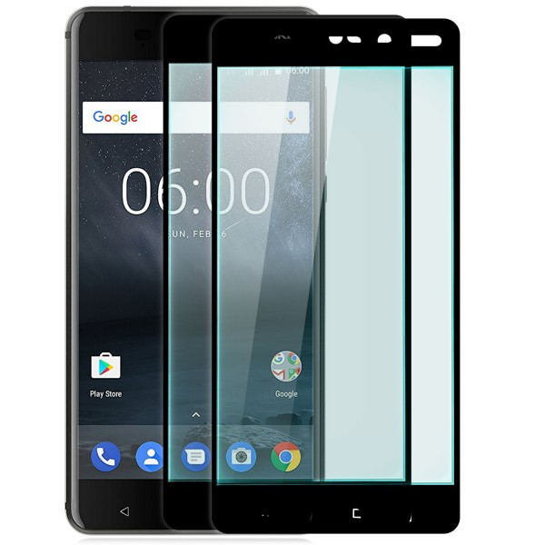 2x Full Cover Displayschutzglas für Nokia 6 - Schwarz