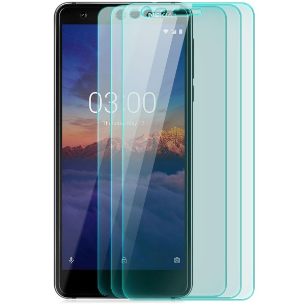 3x Curved Displayschutzglas für Nokia 3.1 - Transparent