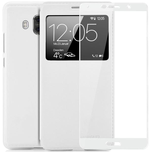 Kunstleder View Case für Huawei Mate 10 - Weiß + FC Glas W