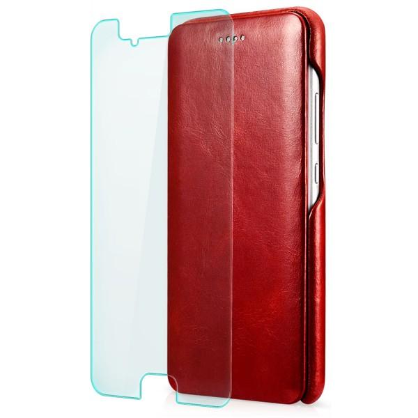 Zanasta Curved Edge Vintage Case für Huawei P10 Plus - Rot + GLAS