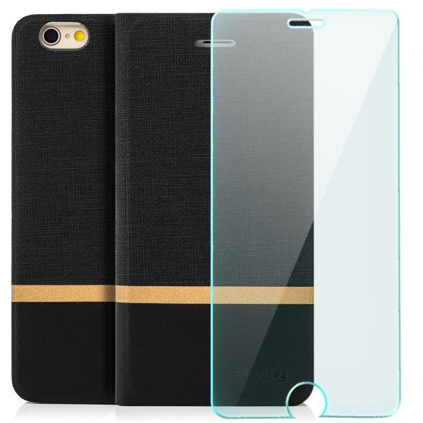 """Kunstleder Streifen Tasche für Apple iPhone 6 / 6S (4,7"""") - Schwarz + GLAS"""