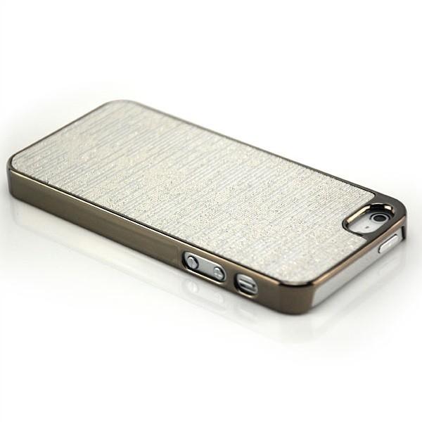 Glitzer Streifen Back Cover für Apple iPhone 5 & 5S Silber