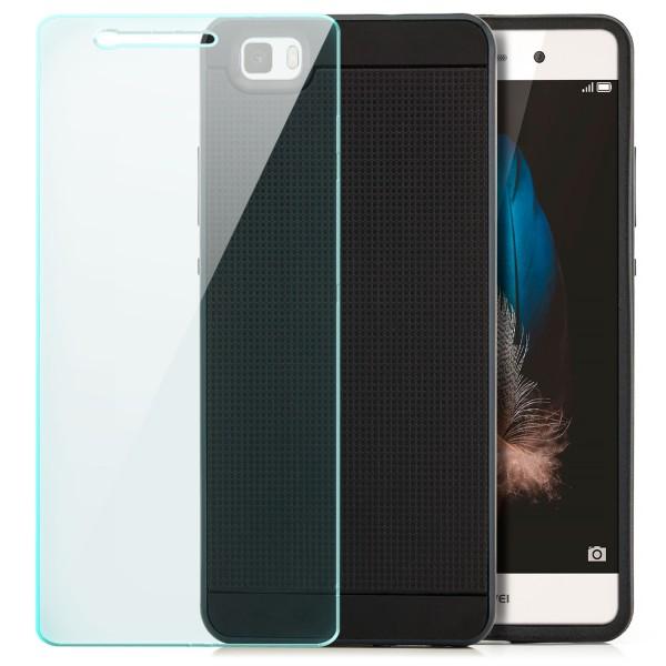 AR-Silikon Back Cover für Huawei P8 Lite (2015) - Schwarz-Dunkelblau + GLAS