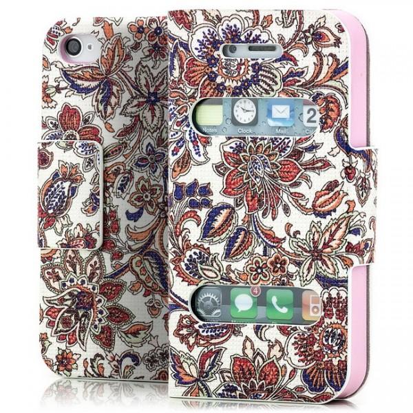 Blumen Mix Book Wallet für Apple iPhone 4 4S -MF-