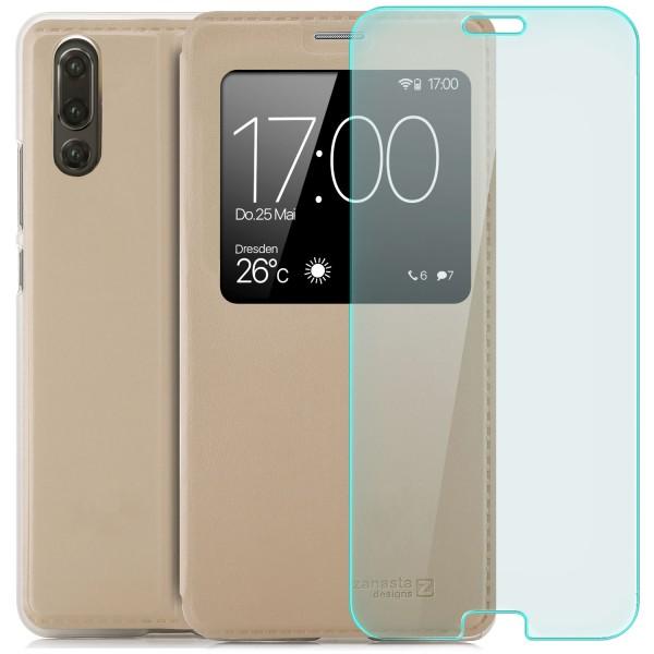 Kunstleder View Case für Huawei P20 - Gold + Curved Glas T
