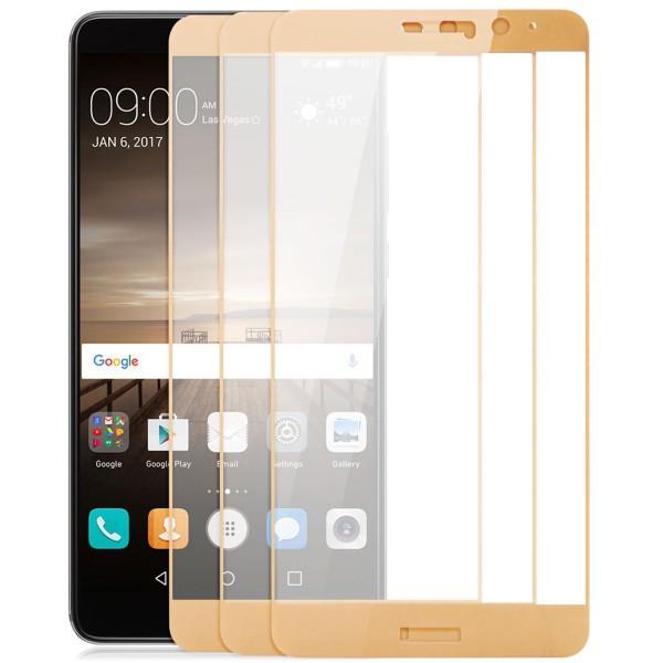 3x Full Cover Displayschutzglas für Huawei Mate 9 - Gold