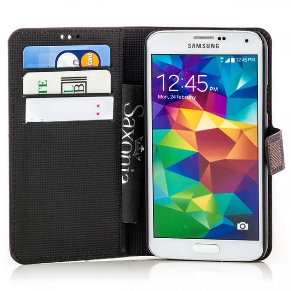 Grid Handytasche für Samsung Galaxy S5 Braun