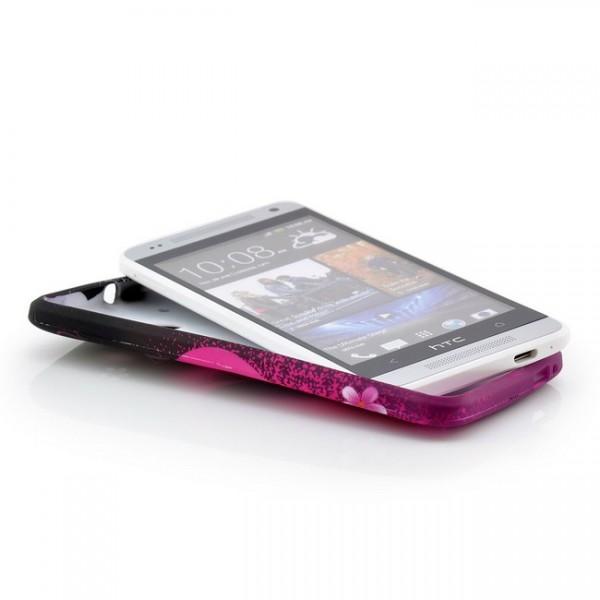 Blumen Silikon Back Cover für HTC One Mini M4 Herz