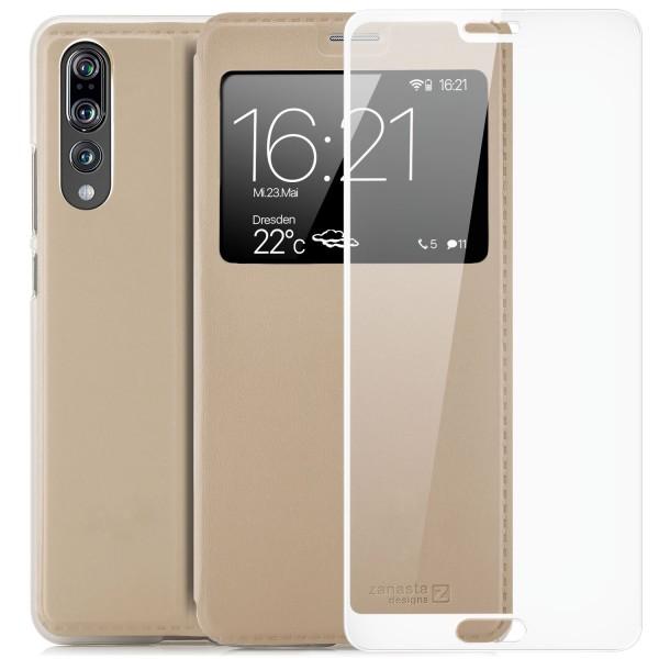 Kunstleder View Case für Huawei P20 Pro - Gold + FC Glas W