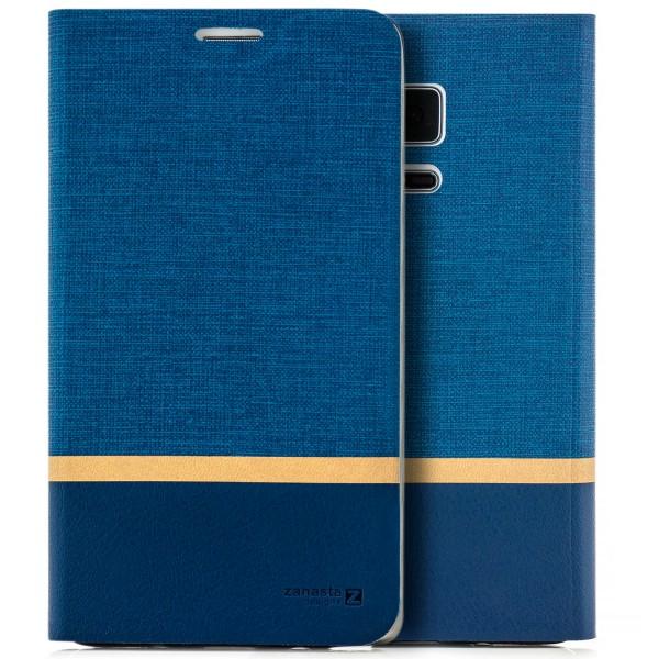 Kunstleder Streifen Tasche für Samsung Galaxy Note Edge - Blau