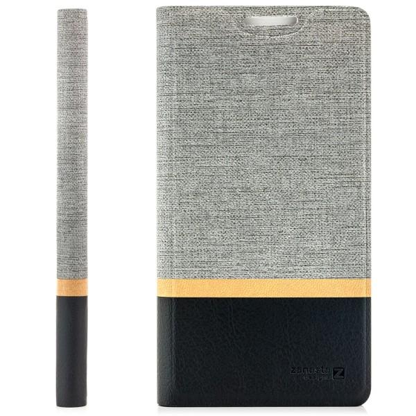 Kunstleder Streifen Tasche für Huawei P30 - Grau