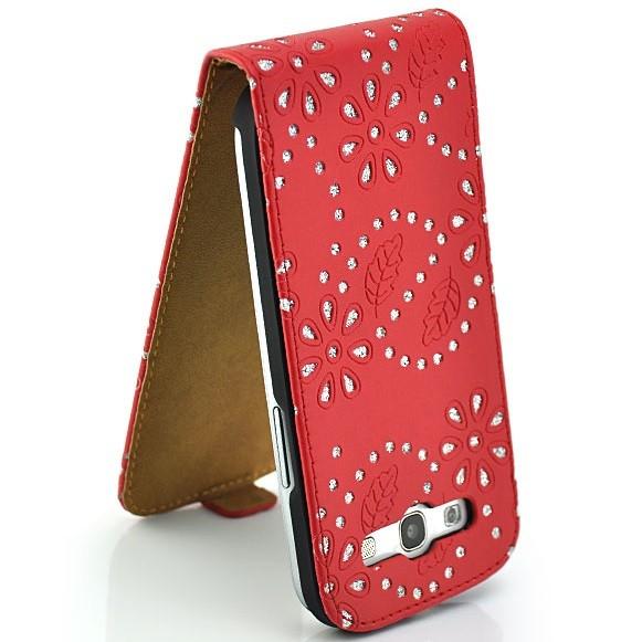Strass Flip Case für Samsung Galaxy S3 Rot