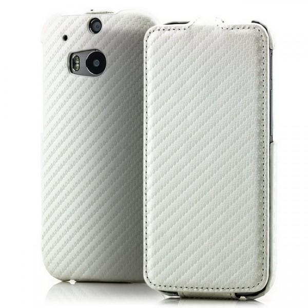 Carbon-Look Flip Case für HTC One M8 Weiß