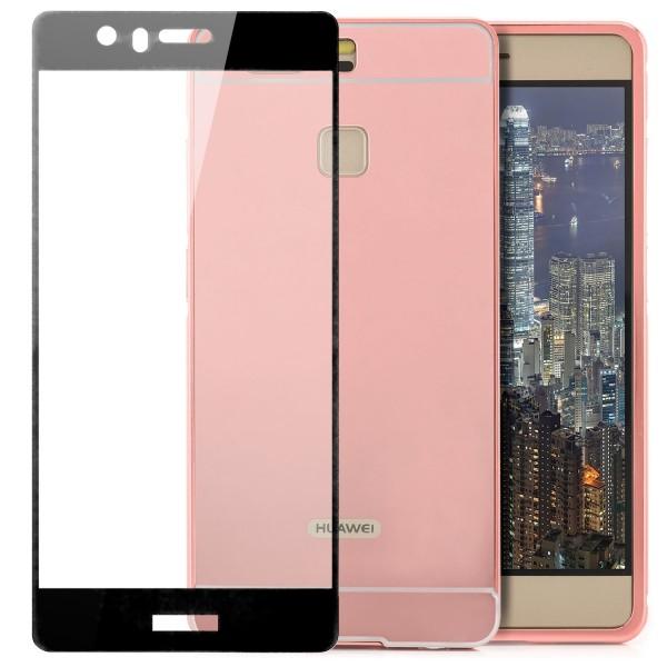 2in1 Chrom Case für Huawei P9 - Rosa + FC Glas S
