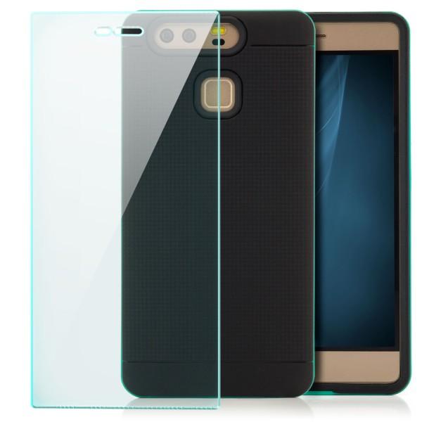 AR-Silikon Back Cover für Huawei P9 - Schwarz-Grün + GLAS