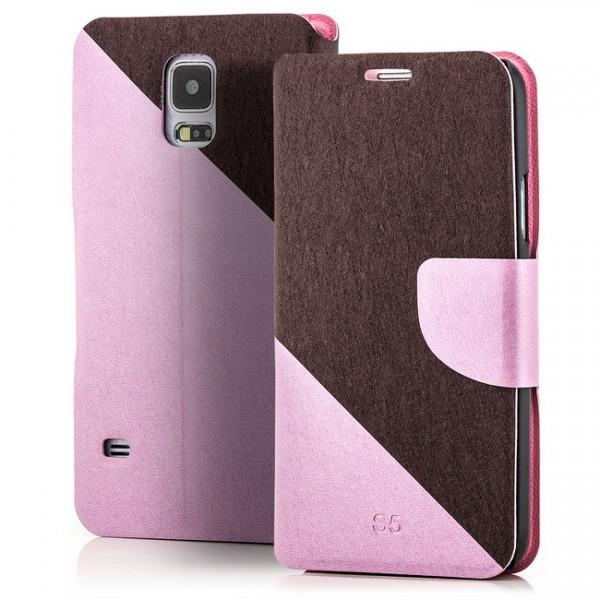 Two Colours Tasche für Samsung Galaxy S5 Rosa-Braun