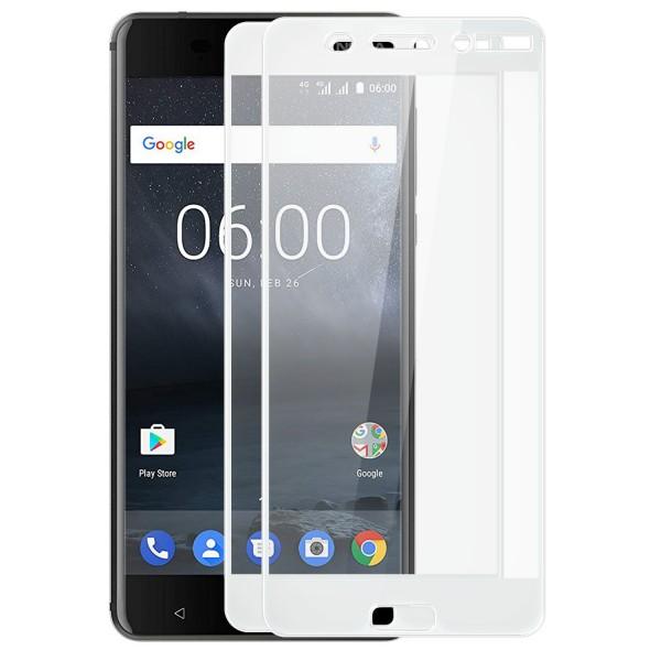 2x Full Cover Displayschutzglas für Nokia 6 - Weiß