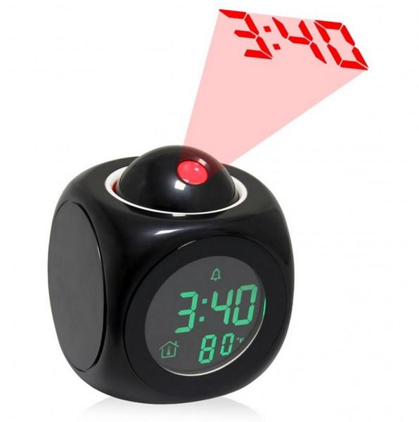 LCD Uhr mit Projektor - Schwarz