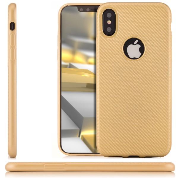 Silikon Metallic Carbon Case für Apple iPhone X - Gold