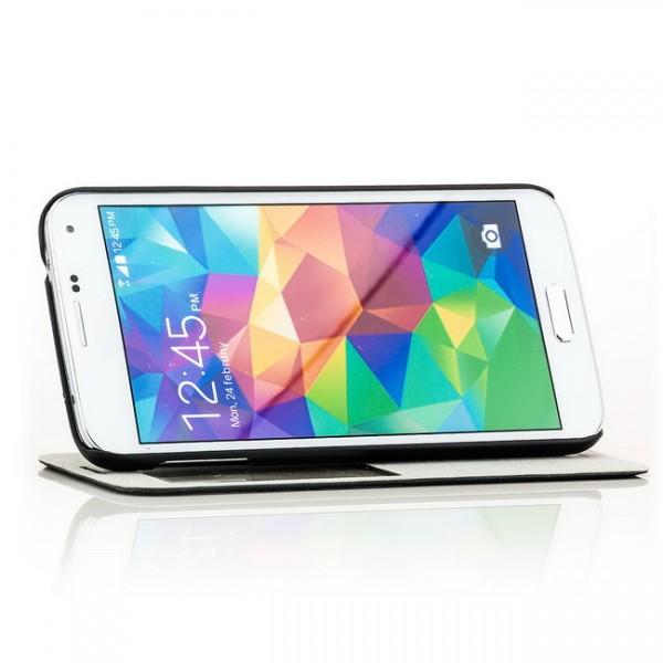 Natural Grain View Case für Samsung Galaxy S5 Dunkelblau