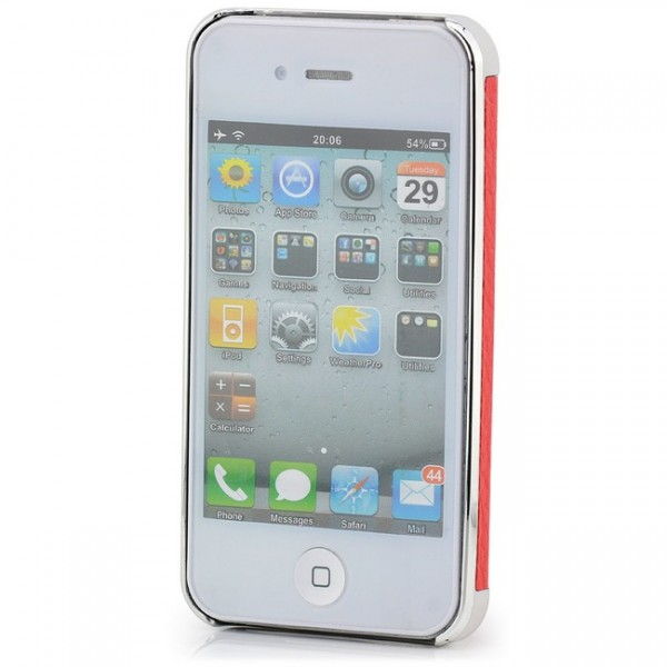 Rough Skin Case für Apple iPhone 4 & 4S Silber-Rot