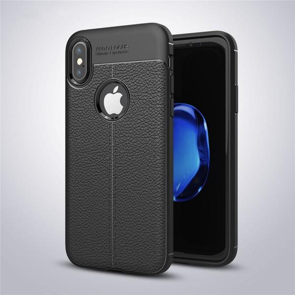 Litchi Soft Back Cover für Apple iPhone X - Schwarz