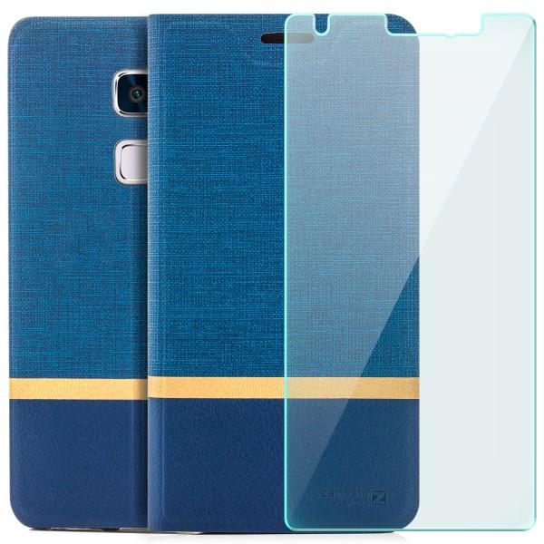 Kunstleder Streifen Tasche für Huawei Mate S - Blau + GLAS