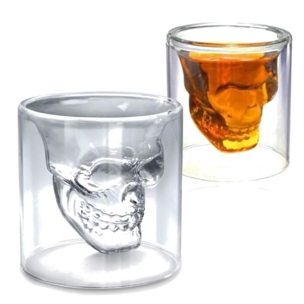 2x Whiskey Glas 3D Totenkopf Skull Likörgläser 150ml Malt Scotch Gläser Trink