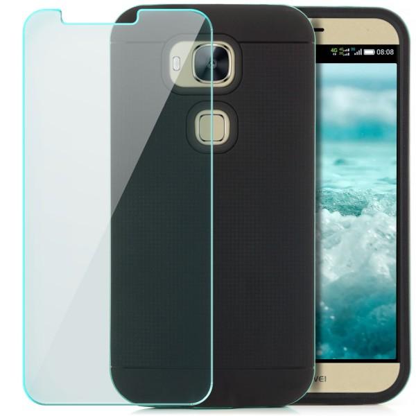 AR-Silikon Back Cover für Huawei G7 Plus - Schwarz-Grün + GLAS