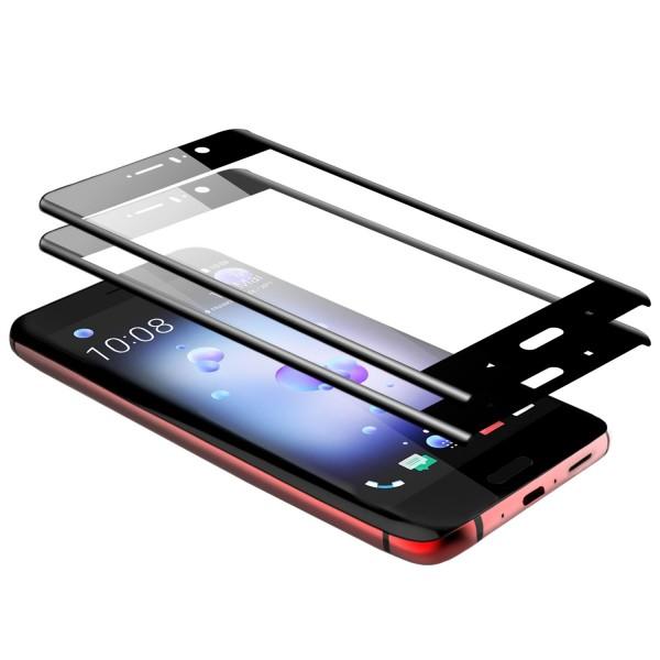 2x Curved Displayschutzglas für HTC U11 - Schwarz